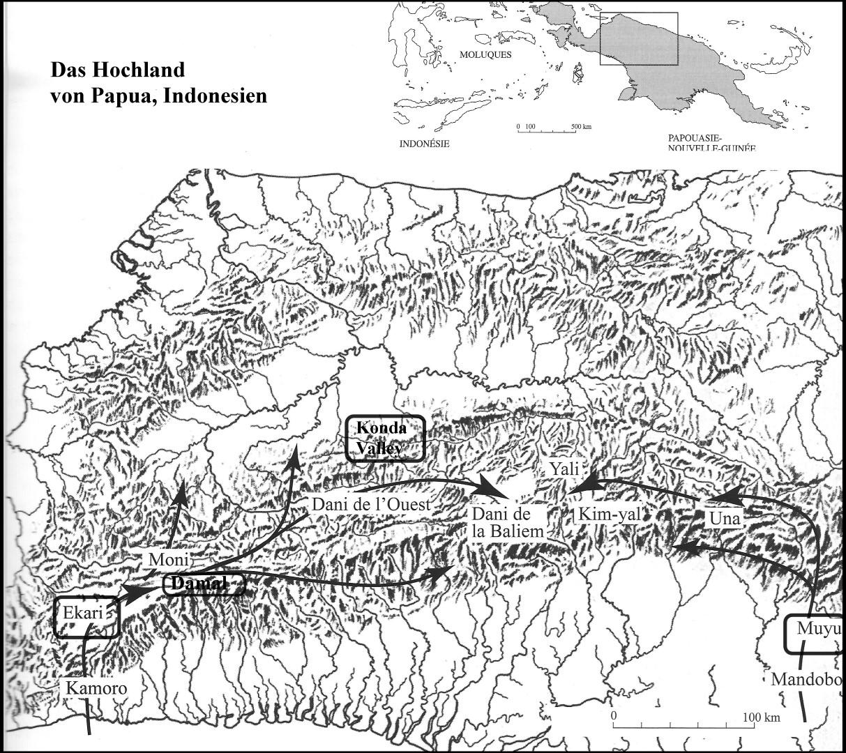 Abb. 1-2: Hauptachse der Kauri-Zirkulation im Hochland der indonesischen Provinz Papua (aus A. M. und P. Pétreqin: Objets de pouvoir en Nouvelle Guinée, 2006, S. 159).